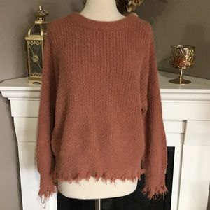 Forever 21 Copper Fringe Chunky Knit Sweater